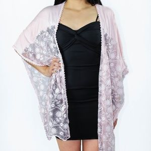 Pink Floral Lace Poncho